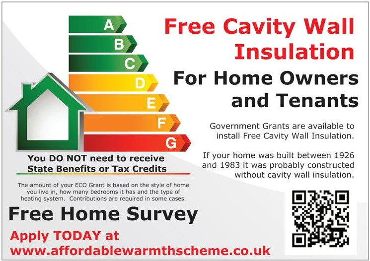 Cavity Wall Insulation Grants from the Government's ECO Scheme